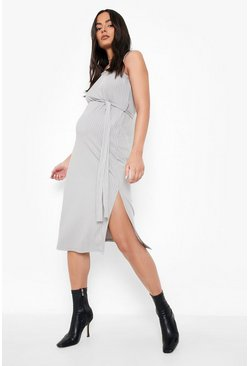 Black Maternity Dip Hem Oversized T-Shirt Dress