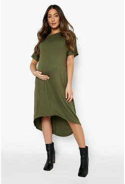 Khaki Maternity Dip Hem Oversized T-Shirt Dress
