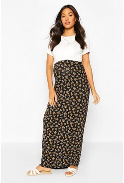 Black Maternity Ditsy Maxi Skirt