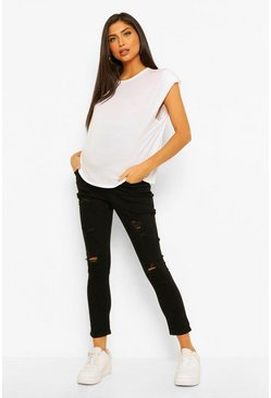 Black Maternity Over The Bump Distressed Skinny Jean