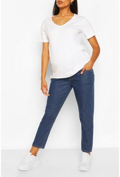 Mid blue Maternity Straight Leg Over The Bump Jean
