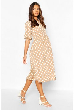 Mocha beige Maternity Midi Polka Dot Dress