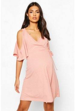 Nude Maternity Cold Shoulder Wrap Dress