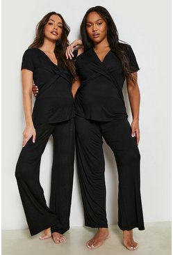 Black Maternity Wrap Front Nursing Pj Pants Set