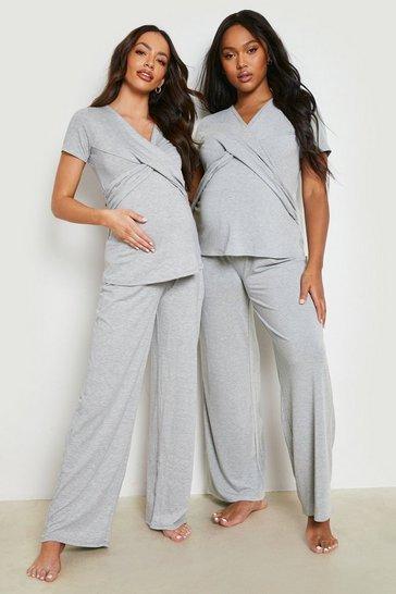 Grey Maternity Wrap Front Nursing Pyjama Trouser Set