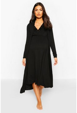 Black Maternity Nursing Nightie & Robe Set