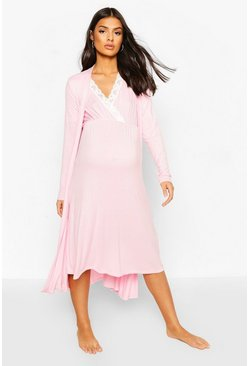 Pale pink pink Maternity Nursing Nightie & Robe Set