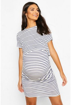 Navy Maternity Stripe Nursing Dress
