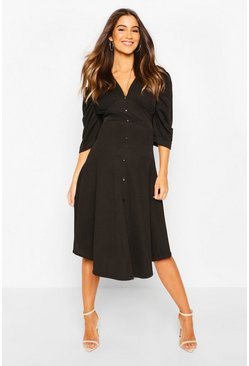 Black Maternity Button Front Midi Skater Dress