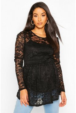 Black Maternity Lace Peplum Top