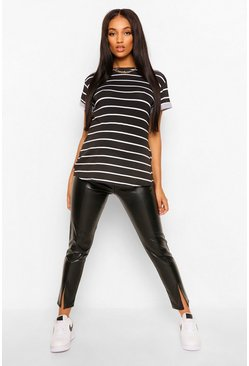 Black Maternity Short Sleeve Stripe T-Shirt