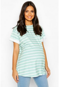 Sage green Maternity Short Sleeve Stripe T-Shirt