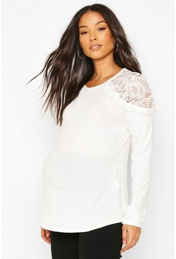 White Maternity Lace Shoulder Detail Top