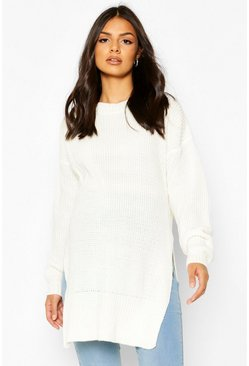 Lilac Maternity Side Split Crew Neck Jumper