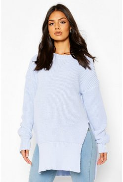 Pastel blue Maternity Side Split Crew Neck Jumper