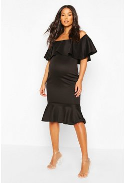 Black Maternity Frill Bardot Midi Dress