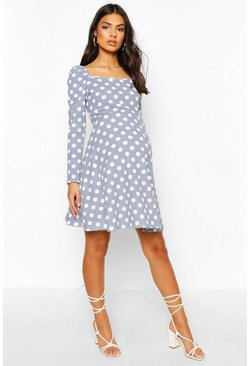 Blue Maternity Ruched Sleeve Polka Dot Skater Dress
