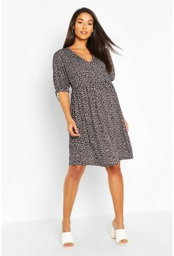 Black Maternity Smudge Print Smock Dress