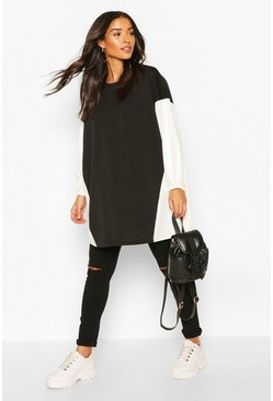 Black Maternity Contrast Tunic Blouse
