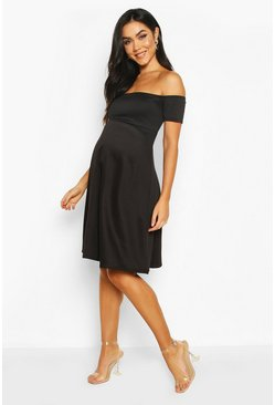 Black Maternity Bardot Scuba Skater Dress