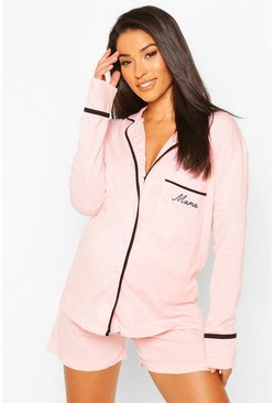 Rose Maternity Piping Embroided Mama PJ Set