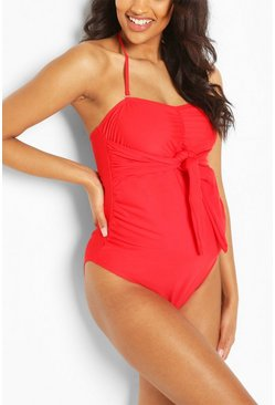 Red Maternity Tie Front Halterneck Swimsuit