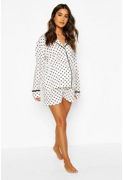 White Maternity Polka Dot Pipe Detail Short Pajama Set