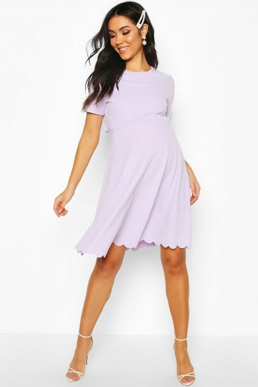 Lilac purple Maternity Double Layer Scallop Skater Dress