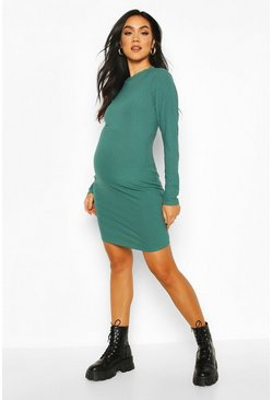 Green Maternity Crew Neck Basic Bodycon Dress