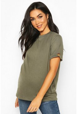 Khaki Maternity Button Turn Up Cuff Boxy Cotton T-Shirt