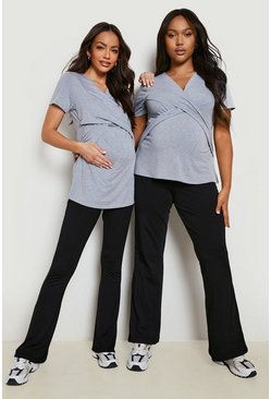Light grey grey Maternity Wrap Front Nursing T-Shirt
