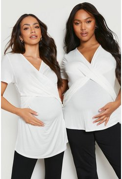 White Maternity Wrap Front Nursing T-Shirt