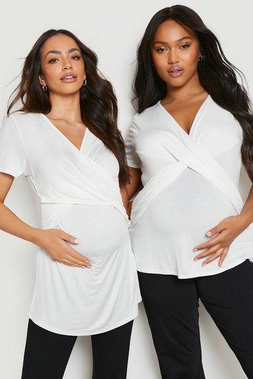 White Maternity Wrap Front Nursing T-Shirt