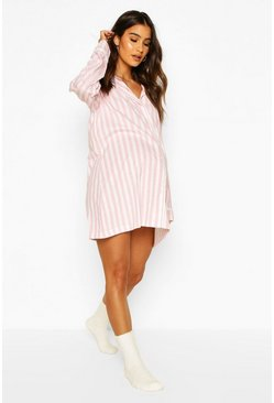 Pink Maternity Stripe Pipe Detail Sleep Shirt