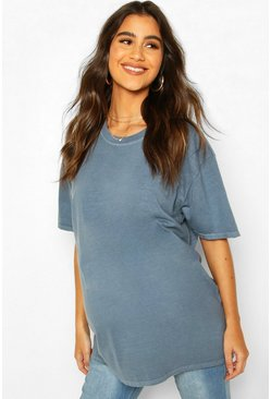 Blue Maternity Washed T-Shirt