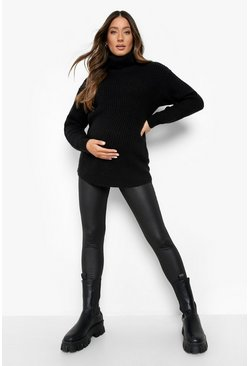 Black Maternity Leather Look Over Bump Legging