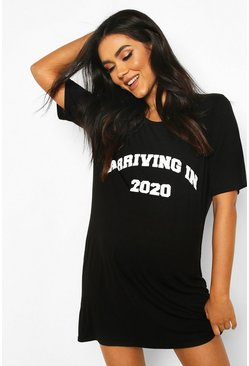 Black Maternity Arriving 2020 Nightgown