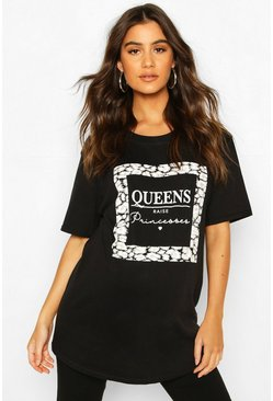 "Umstandsmode T-Shirt mit ""Queen Raise Princesses""-Slogan, Schwarz"
