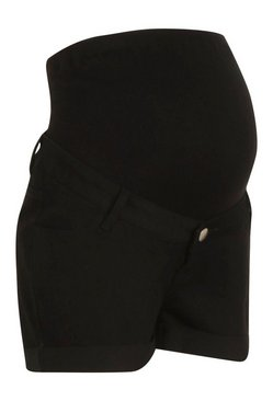 Black Maternity Roll Hem Denim Short