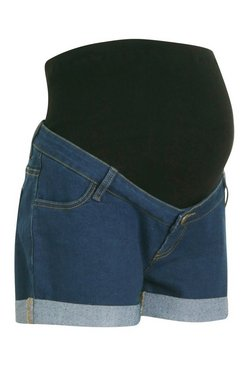 Mid blue Maternity Roll Hem Denim Short