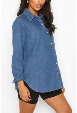 Mid blue blue Maternity Denim Shirt