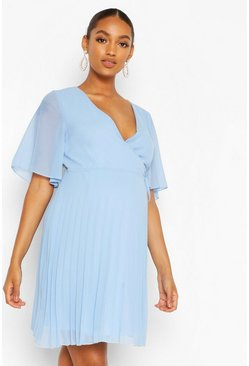 Blue Maternity Pleated Wrap Midi Skater Dress