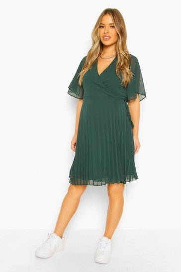 Emerald green Maternity Pleated Wrap Midi Skater Dress
