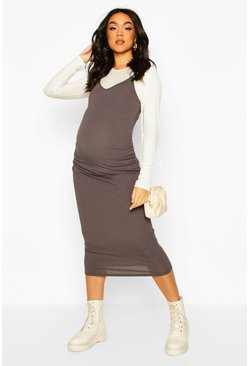 Charcoal grey Maternity 2 In 1 Top And Midi Slip Dress