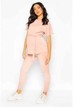 Blush pink Maternity Batwing Tie Waist Legging Lounge Set