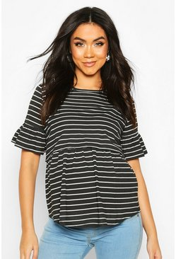 Black Maternity Stripe Nursing Smock Top