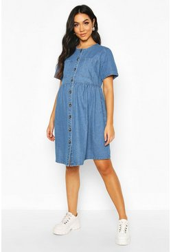 Mid blue blue Maternity Button Front Denim Smock Dress