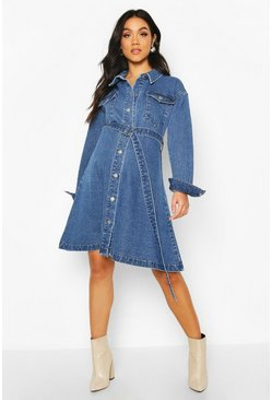Maternity Button Front Denim Shirt Dress, Mid blue Синий