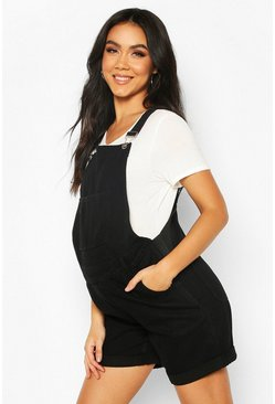 Black Maternity Dungaree Shorts
