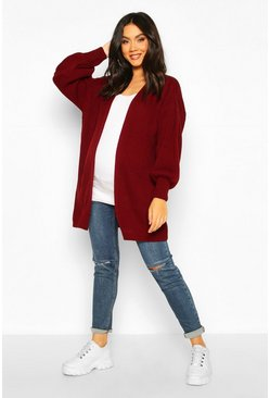 Berry red Maternity Bell Sleeve Knitted Cardigan